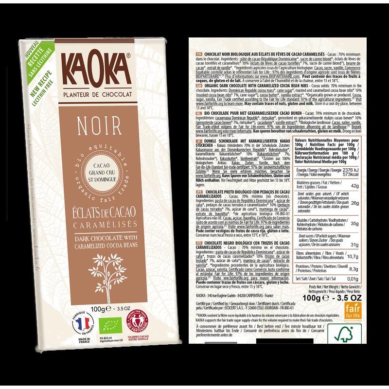 CHOCOLAT NOIR + ECLATS DE FEVES 100 G KAOKA
