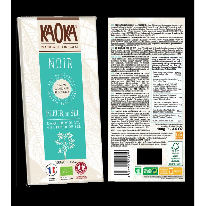 CHOCOLAT NOIR 70% FLEUR DE SEL 100 G KAOKA