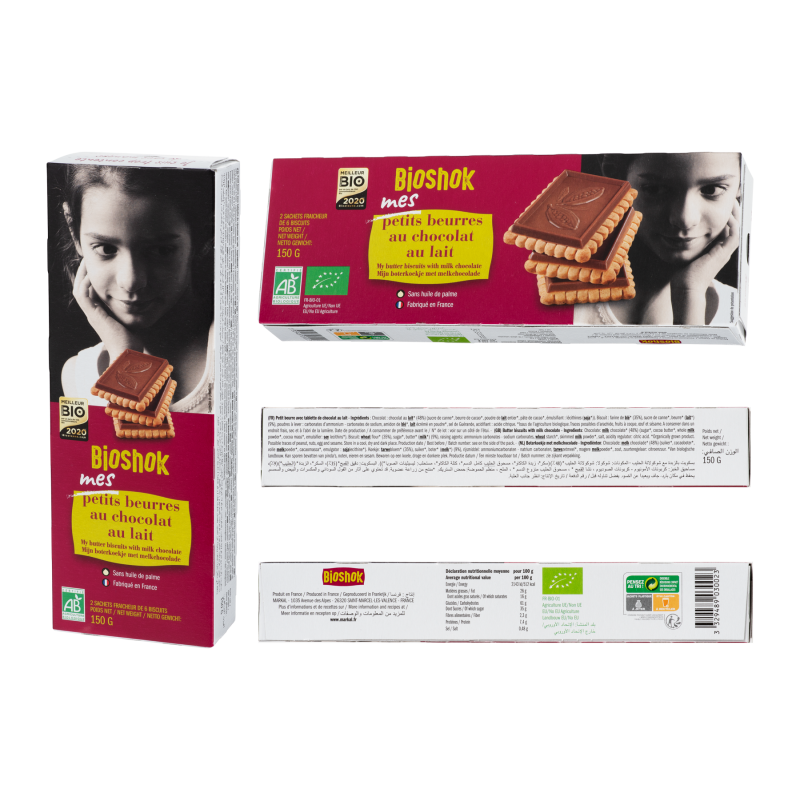 PETIT BEURRE - CHOCOLAT AU LAIT (48%) 150 G BIOSHOK