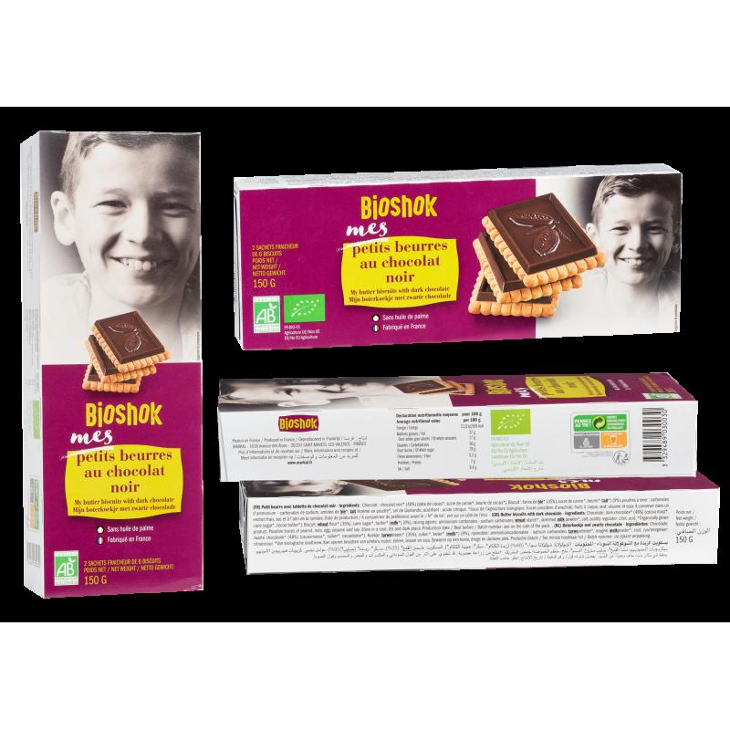 PETIT BEURRE - CHOCOLAT NOIR (48%) 150 G BIOSHOK