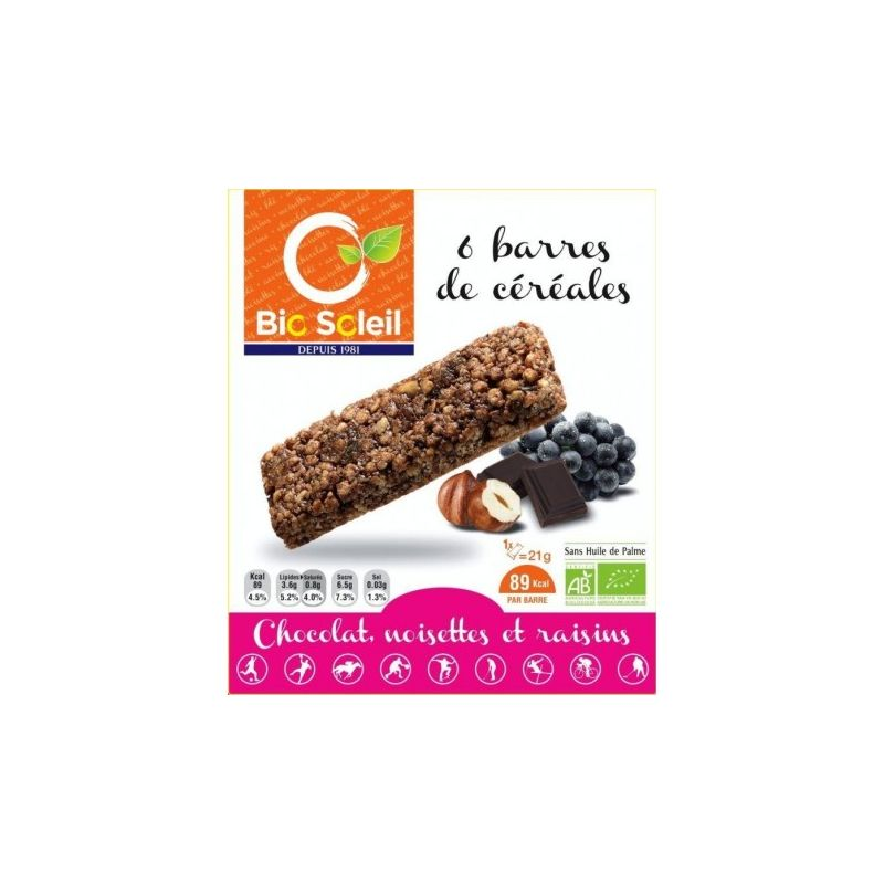 BARRES CÉRÉALES CHOCO-NOISETTE-RAISIN 125 G
