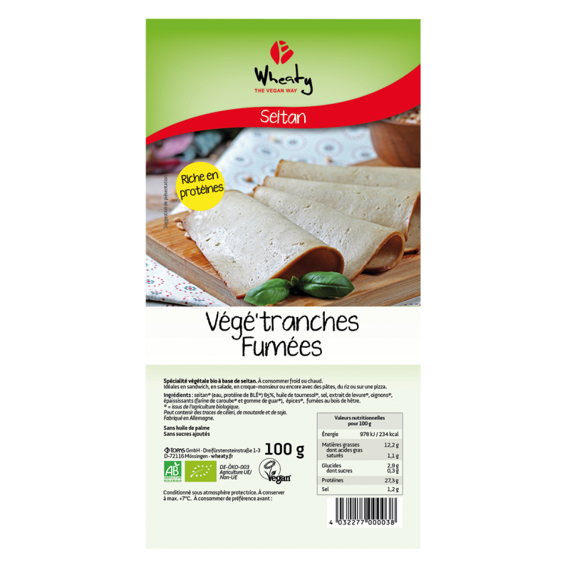 VEGE'TRANCHES FUMEES 100 G WHEATY