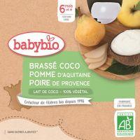 BRASSÉ AU LAIT DE COCO POMME D'AQUITAINE POIRE 4*85G BABYBIO