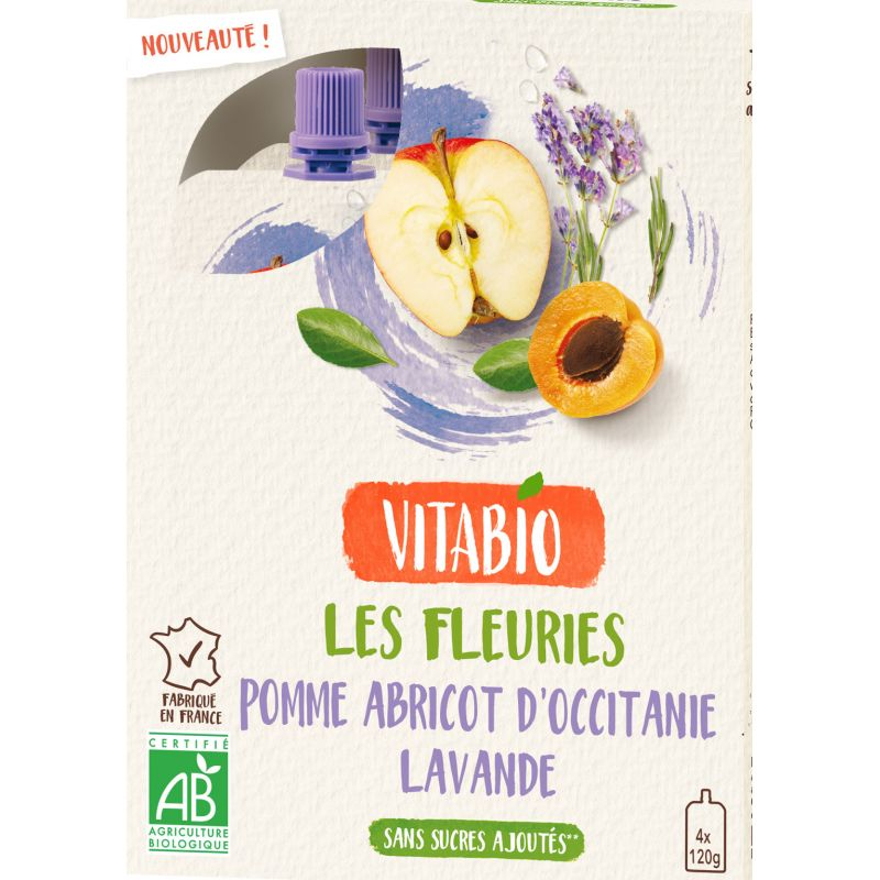 GOURDE POMME ABRICOT LAVANDE DE LA DROME 4X120 G BABYBIO