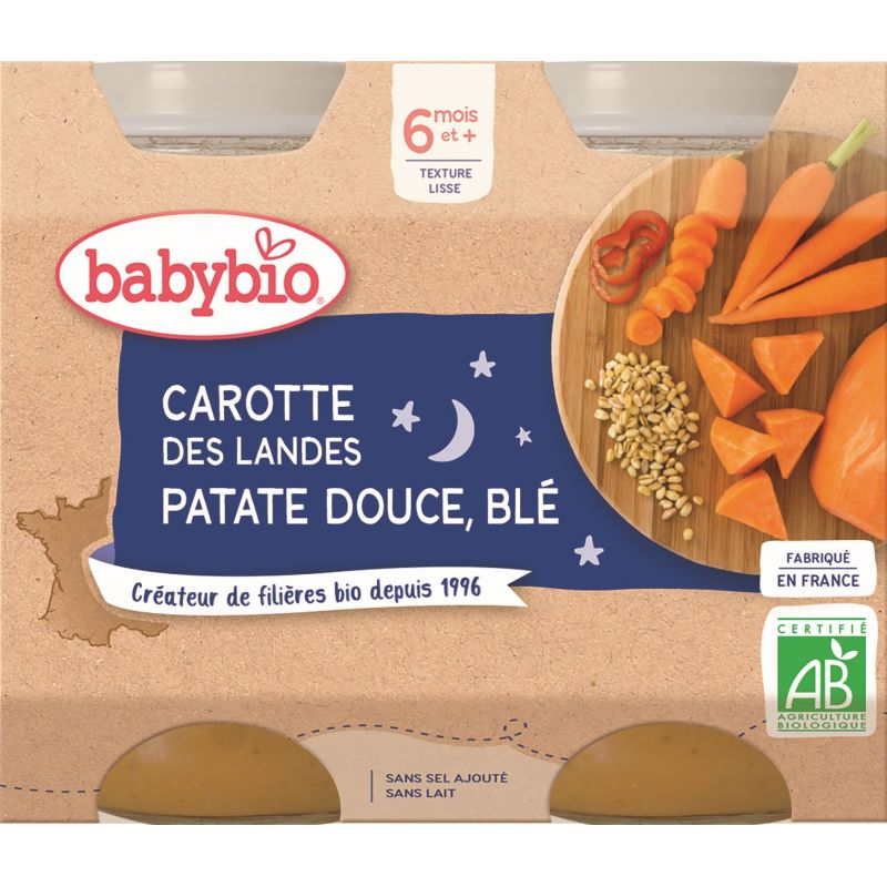 POT BONNE NUIT CAROTTE DES LANDES PATATE DOUCE BLÉ 2*200 G BABYBIO