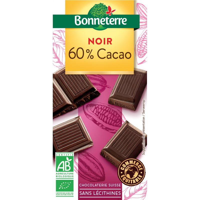 CHOCOLAT NOIR 60% CACAO 100G