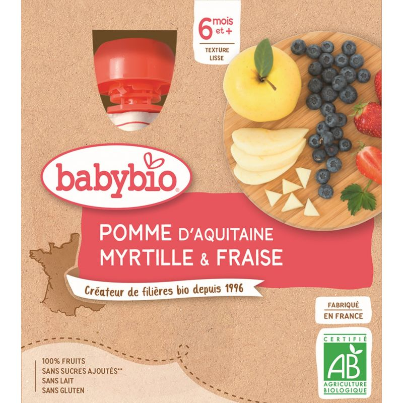 GOURDE POMME MYRTILLE FRAISE 4*90 G BABYBIO - 24