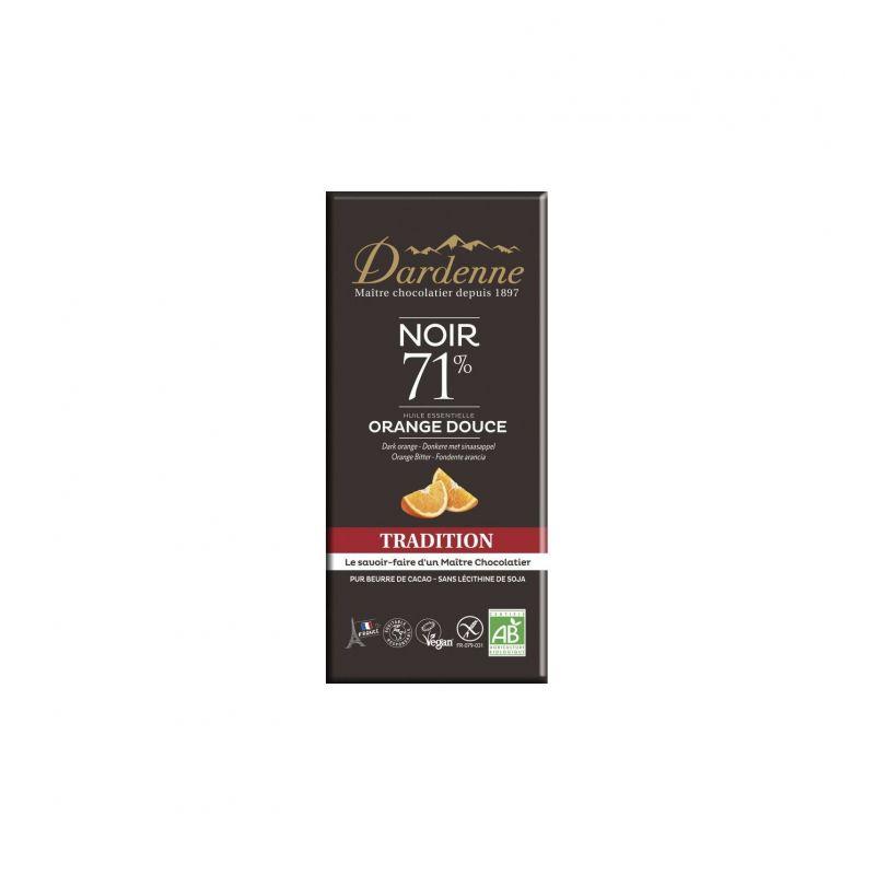 TABLETTE CHOCOLAT NOIR H.E. ORANGE DOUCE 70 G